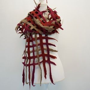 Open Weave Felt Silk Scarf Fringe Accent Red Brown